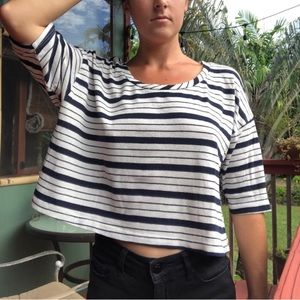 Project Social T crop tee navy & white stripes